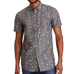 Marvel Deadpool Graphic Button Up Shirt XXL